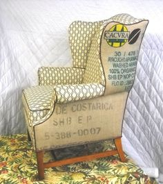Coffee Sack Wing Back Chair Free Shipping by crown99 on Etsy