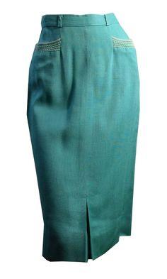 Aqua Blue Pencil Skirt with Angora Accents Pockets circa 1950s
