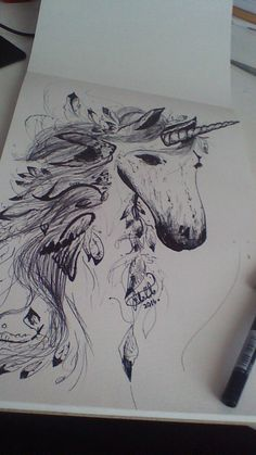 Ink Feather Unicorn- drawing ideas ~by Snuggle Bunny