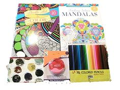 Mandalas and Doodle Art Adult Coloring Book Starter Gift…