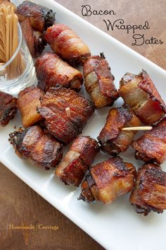 Bacon Wrapped Dates   Ingredients  1 Package of Bacon 24 Dates, Seeds Removed Instructions  Heat oven to 400 degrees. Cut bacon slices in ha...