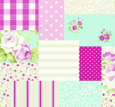 Fryetts's Fabrics: Vintage Patchwork Candy pink spotty gingham cath type fabric and PVC, oilcloth!!!!