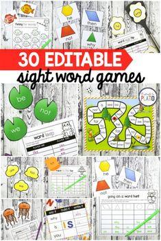 30 Editable Sight Word Games!