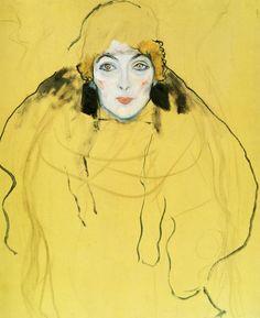Gustav Klimt >> Portrait d une dame. (Inachevé) | (huile, reproduction, copie, tableau, oeuvre, peinture).