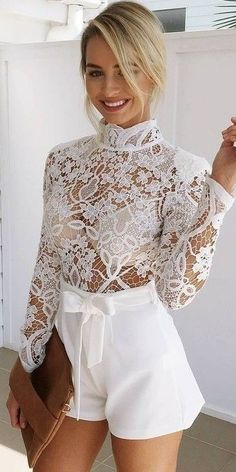 Just a pretty style Latest fashion trends: Street style White sheer lace shirt with high waisted belted shorts All White Party Outfits, All White Outfit, Fall Outfits, Summer Outfits, Fashion Outfits, Woman Outfits, All White Romper, Fashion Shorts, Lace Outfit