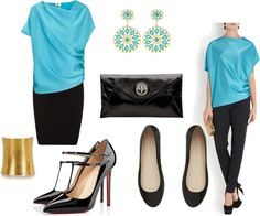 """Turquoise and black"" by c-felice on Polyvore"