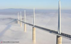 Millau Viaduct, France. 12th highest bridge in the world. Cable-stayed bridge spanning 2460m and at a height of 270m. Designed by Michel Virlogeux and Norman Foster