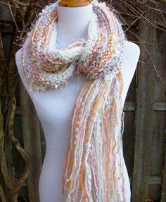 Neutral Toned Knit Scarf Extra Long and Wide