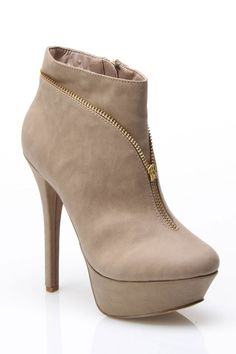 nude bootie with zipper detail $25