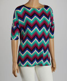 Take+a+look+at+the+Green+&+Blue+Zigzag+Boatneck+Top+-+Plus+on+#zulily+today!