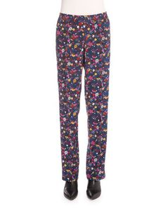KENZO Small Tanami Flower Silk Straight-Leg Pants, Peacock. #kenzo #cloth #