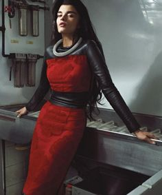 Red and black leather. On trend! spinningbirdkick: Thomas Whiteside / DuJour Magazine Fall 2012.
