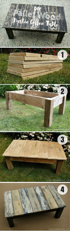 Check how to build this easy DIY Pallet Wood Rustic Coffee Table…