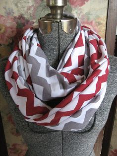 2 pack lot Red and Gray Grey Chevron Infinity Scarves - school team colors - ChevronScarf