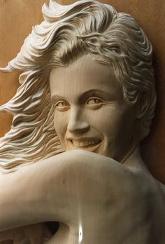 "wood carving  | Figurative Wood Carving by Phil Townsend.  ""Candle in the Wind""  Marilyn Monroe"