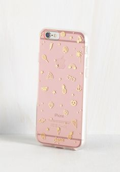 Flair for fruit? Penchant for pizza? Delighted by diamonds? This pink iPhone case from Sonix has a little something for everyone! Detailed with shiny gold doodads from sunglasses to stars to Saturn itself, this shock-absorbent case is a testament to everything you adore.