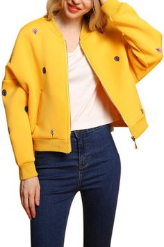 Yellow Fashion Embroidery Pattern Zipper Front Fastening Bomber Jacket from mobile - US$45.95 -YOINS