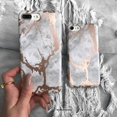 Protective White Marble print marble phone case layered with a shiny Rose Gold Chrome pattern completed in a matte finish. Full Protection:Comes with full 360 d