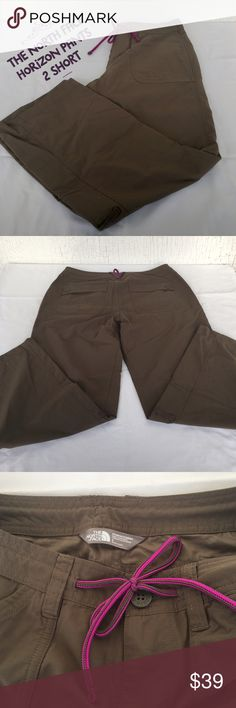 THE NORTH FACE Horizon Pants - 2 SHORT THE NORTH FACE Horizon II Pants Size 2 SHORT- In Dark Brown  From the tropics to your backyard, these durable yet lightweight pants keep you comfortable. SEE LAST PIC FOR PANTS' FEATURES * UPF 30 sun protection * Durable water repellent finish causes water to bead up * Drawcord; button-fly closure * Legs roll up and secure with tabs * 2 front hand pockets; 1 has zippered stow pocket * 2 rear pockets button closed * Straight fit APPROX MEASUREMENTS…