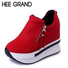 Hee grand 웨지 여성 부츠 2017 새로운 플랫폼 신발 덩굴 슬립 발목 부츠 패션 플랫 캐주얼 여성 신발 XWD4722