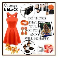 """Orange and black"" by sadeta-v ❤ liked on Polyvore featuring Chicnova Fashion, de Grisogono, Van Cleef & Arpels, Illamasqua, Urban Decay, L'Oréal Paris and MAC Cosmetics"