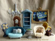 Needle felted antique style furniture set handmade OOAK by FunFeltByWinnie on Etsy