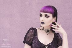 Model: Obsidian Kerttu * Black agate gem choker and amethyst ring by Mystic Thread