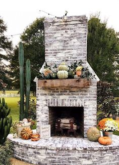 Best Photographs Brick Fireplace outdoor Concepts It sometimes pays for you to skip this redecorate! Rather than pulling out a strong obsolete brick fireplace , cut costs Rustic Outdoor Fireplaces, Outdoor Fireplace Patio, Outside Fireplace, Outdoor Fireplace Designs, Fireplace Ideas, Fireplace Kitchen, Small Fireplace, Fireplace Hearth, Fireplace Remodel