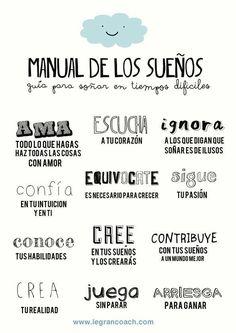 Guía para soñar en tiempos difíciles #infografia #infographic   Infografías en castellano