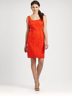 Josie Natori Lace Tank Dress  would wear this to church or a family event! with brown sandals