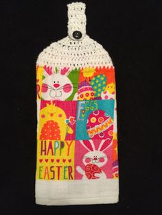 Crocheted Top Dish Towel  Easter Patchwork by HandMadeInMadison
