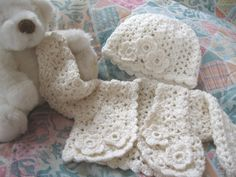 Crochet Baby Sweater Set  Cardigan Hat  by AmandasImagination, $70.00