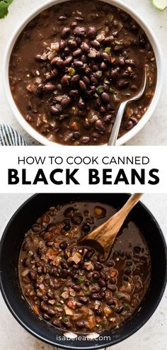 An easy way to cook and season canned black beans to make a delicious and healthy side dish in no time! Serve with Mexican and Tex-Mex favorites like tacos, enchiladas and burritos. recipe sides How to Cook Canned Black Beans - Isabel Eats Veggie Recipes, Mexican Food Recipes, Cooking Recipes, Recipes With Beans Healthy, Mexican Beans Recipe, Pureed Recipes, Mexican Black Beans, Beans Recipes, Eating Clean