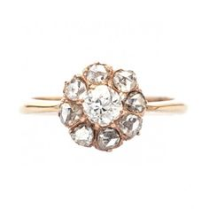 Pimsbury is a lovely antique Victorian era rose gold diamond cluster ring from Trumpet & Horn! // $3,100
