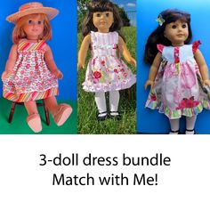 Image of Doll Pattern Bundle - 3 Dress Pattern Pack - Fair & Square Perfect Party & Butterfly