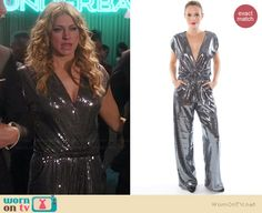 Josslyn's silver sequin jumpsuit on Mistresses Hollywood Style, Hollywood Fashion, Fashion Tv, Fashion Outfits, Rochelle Aytes, Jes Macallan, Sequin Jumpsuit, Alyssa Milano, Silver Sequin