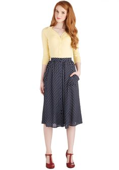 Just Dandy Skirt in Navy Dots. Youll feel fine and dandy when you don this skirt in a deep blue hue! #blue #modcloth