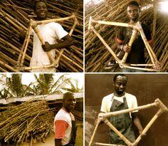 bicicleta Blackstar, toda feita com bambu plantado e colhido na África