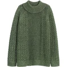 H&M Glitter-knit jumper ($46) ❤ liked on Polyvore featuring tops, sweaters, dark green, chunky cable knit sweater, long sweaters, long turtleneck sweater, cable sweater and cable knit sweater