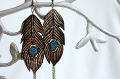 Gold Peacock Feather Earrings, Faux Leather Earrings Hand Painted & Made in San Diego, CA $28