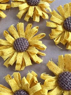 Mini Sunflowers with Chocolate Brown Burlap Centers - Set of 6 - Sunflowers, Yellow flowers, shabby chic, shabby flowers, golden yellow Burlap Flowers, Shabby Flowers, Paper Flowers Diy, Handmade Flowers, Felt Flowers, Fabric Flowers, Burlap Crafts, Paper Crafts, Burlap Wreath