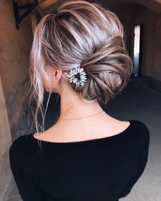 Bridal loose bun updo. Messy blonde ombre balayage. - Wedding hairstyles via tonyastylist - Tonya Pushkareva