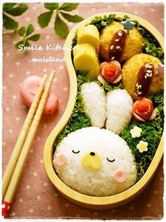 Easter rabbit rice ball - Japanese bento box pinned by BentoUSA.com