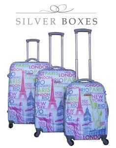 New Travel Luggage, 3 Bag Set, Pretty Design, London, Paris, New York