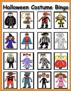 Halloween Alphabet Bingo and Memory Match - Fun costume drawings kids will love - Brandy Baele - TeachersPayTeachers.com