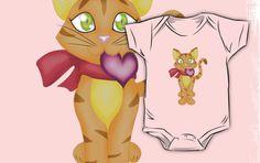 #valentines #day #cat #kitten #hearts #pink #kids #babies #shirts