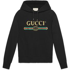 Embroidered Cotton Sweatshirt With Gucci Logo ($1,980) ❤ liked on Polyvore featuring men's fashion, men's clothing, men's hoodies, men's sweatshirts, black, mens hooded sweatshirts, mens sweatshirts and mens sweatshirt hoodies