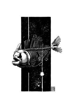 "Limited edition (10) token of Skeenee´s ""Piranha Skeleton"" available on www.makersplace.com. #cryptoArt #skeenee #cryptoartist #skull #skullart Sumi Ink, Anatomy Drawing, Ink Painting, Skull Art, Blockchain, Skeleton, Digital Art, My Arts"