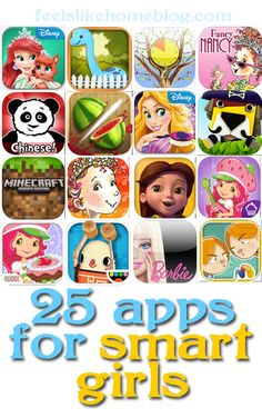25 awesome apps for smart girls ages 5-8! Some educational apps, and some are just for fun.