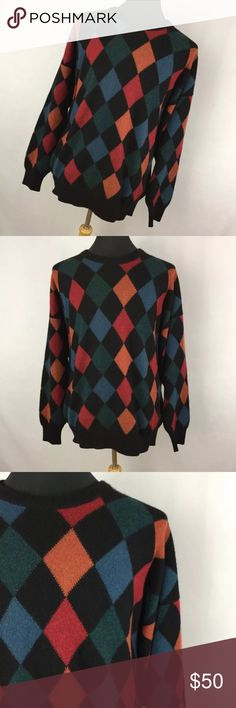 """Neiman Marcus XL Sweater Cashmere Argyle Black Neiman Marcus XL Sweater Cashmere Argyle Black Crew Neck Made In Scotland. Excellent condition. Smoke free home. Chest measurement - 54""""Length measurement - 30"""" Neiman Marcus Sweaters Crewneck"""